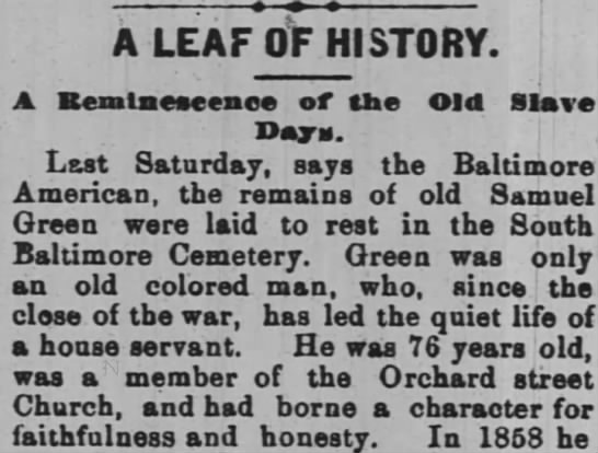A LEAF OF HISTORY - A LEAF OF HISTORY. Old Slave Bemlneseenee of...