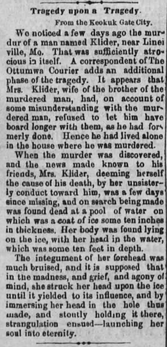 Unlikely murder. - Tragedy npon a Tragedy. From the Keokuk Gate...
