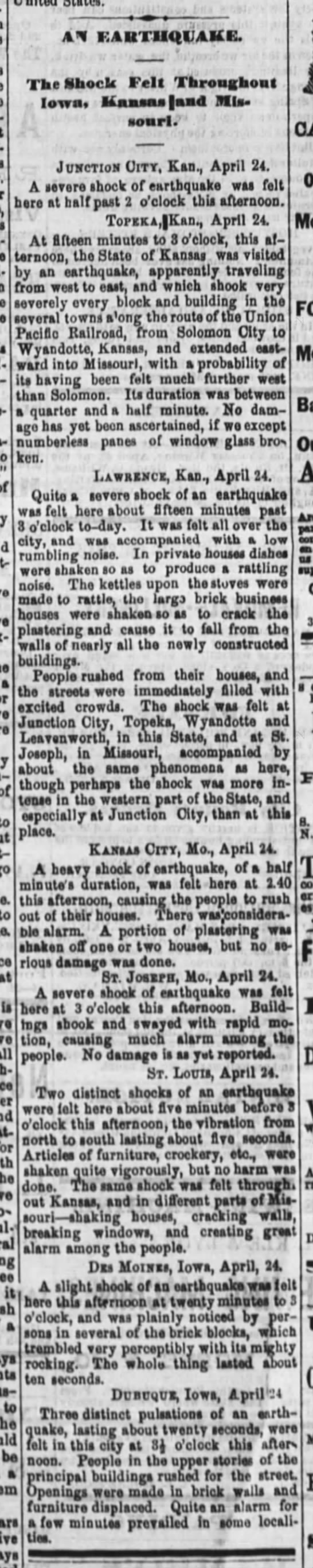 1867 Earthquake KS, IA, and MO newspaper article. - Tom Malmay - - - a of to to tt all tor be - - At KAUTUQVAUB....