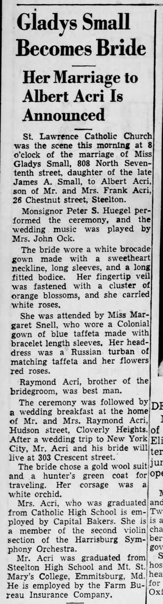 October 29, 1942 Acri Sent to Pics - Gladys Small Becomes Bride Her Marriage to...