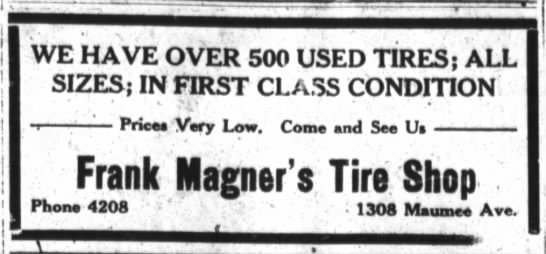 Ad for Frank Magner's Tire Shop.