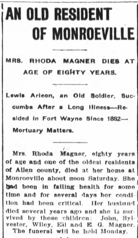 Obituary - Rhoda Magner, 5 Jun 1904 (widow of William Magner) - AN OLD RESIDENT OF MONROEVILLE MRS, RHOOA...