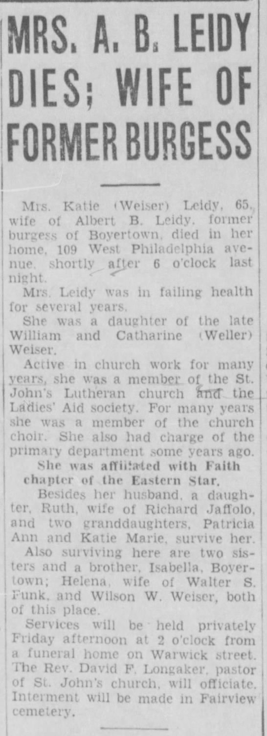 - 1MRS. A, B, LEIDY DIES; WIFE OF FORMER BURGESS...