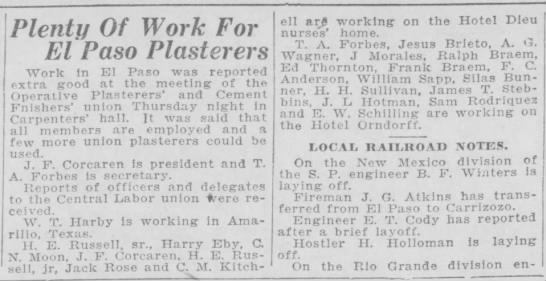 1926-04-16-20 Ralph  Frank Braem - Plenty Of Work For El Paso Plasterers Work in...