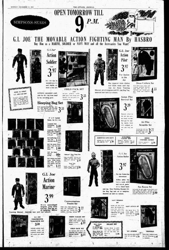G.I. Joe ad, 1964 - . MONDAY, DECEMBER 14, 1964 THE OTTAWA JOURNAL...