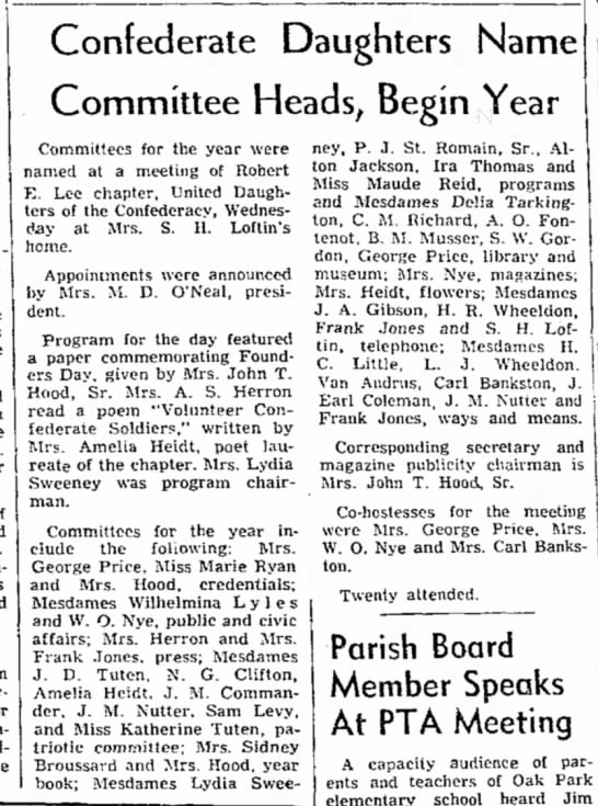 Coleman, Mrs. Earl - UDC Committee announcement, 9 Sep 1955 - - Confederate Daughters Name Committee Heads,...