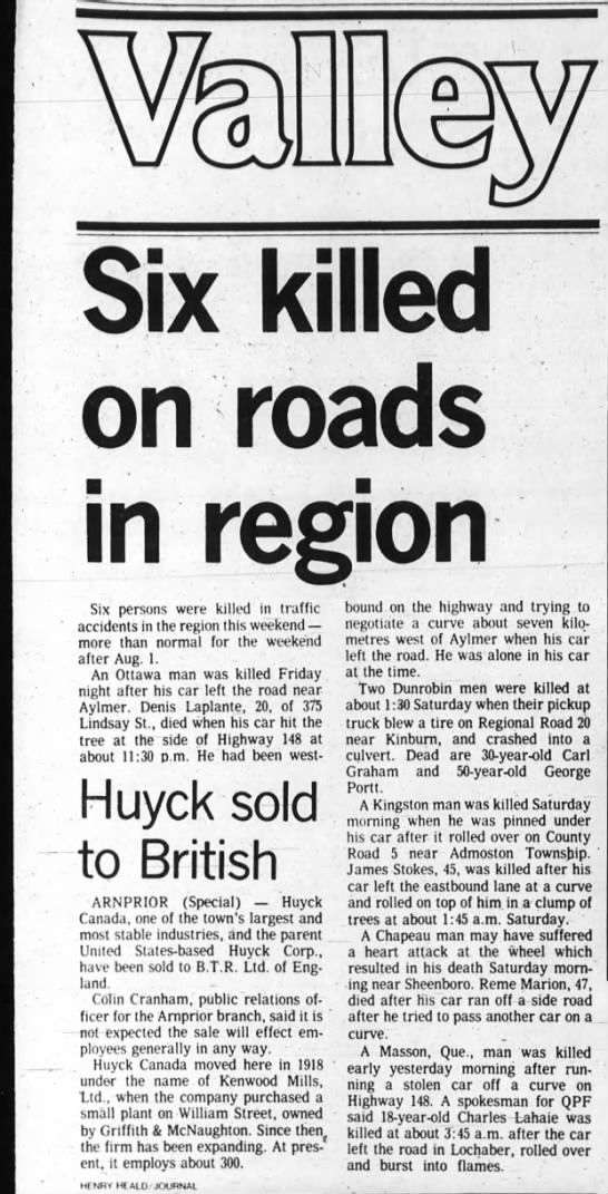 George Portt Auto Accident Ottawa Journal Aug 11, 1980 - hi tolled on roads on re Six persons were...
