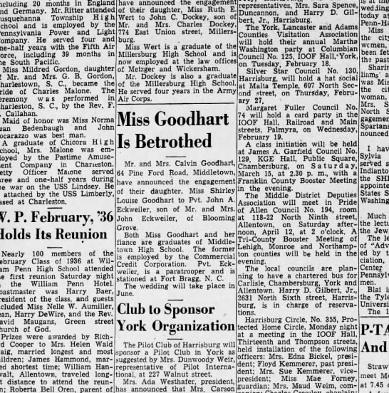 1947 February 6 Hbg Telegraph - including 20 months in England Germany. Mr....