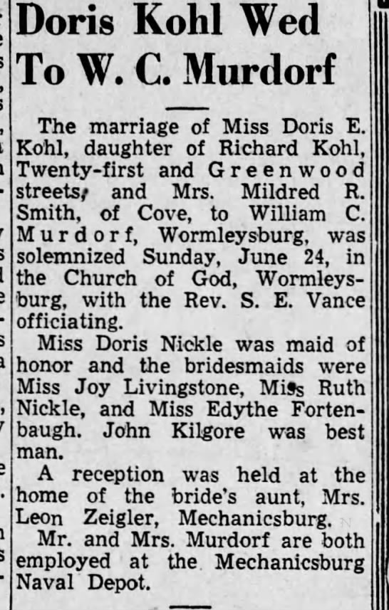 - Doris Kohl Wed To W. CMurdorf The marriage of...