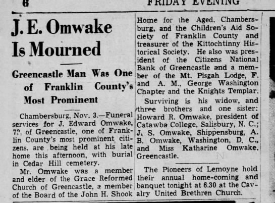 - J. E. Omwake Is Mourned Greencastle Man Was One...