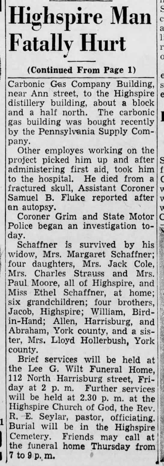 Highspire Fatality Jul40 p4 - Highspire Man Fatally Hurt (Continued From Page...