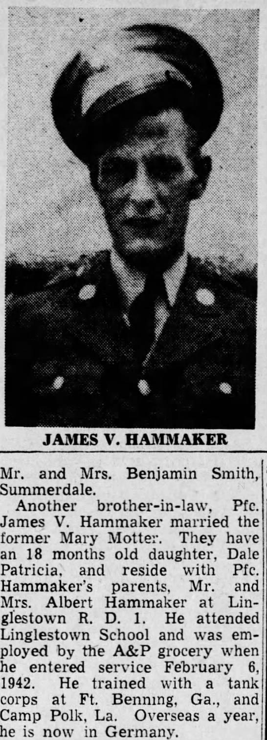 james v hammaker 1945 wife mary motter - 0 JAMES V. HAMMAKER Mr. and Mrs. Benjamin...