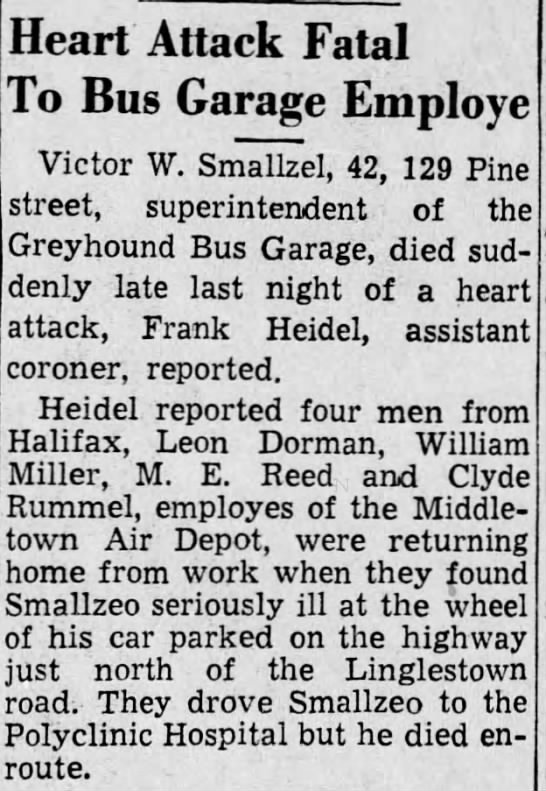 Smallzel. V. death notice/attached to tree - Heart Attack Fatal To Bus Garage Employe Victor...