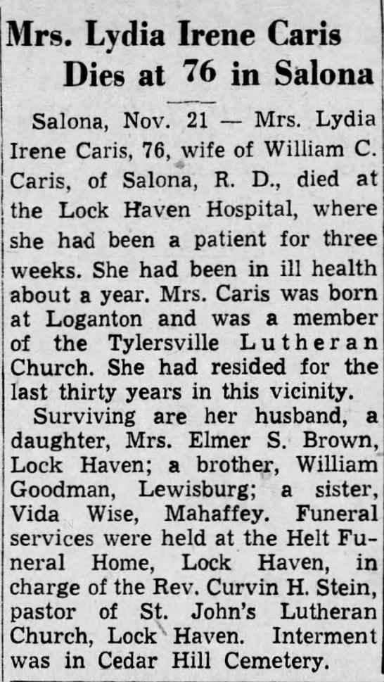 1939 death Lydia Irene Caris of Salona wife Wm C