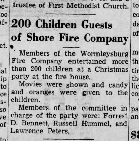 Worm 39-12-23 christmas party - too . to of to trustee of First Methodist...