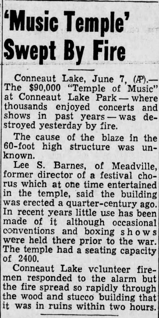 Harrisburg Telegraph 6/7/1946 Temple Music Fire - 'Music Temple' Swept By Fire Conneaut Lake....