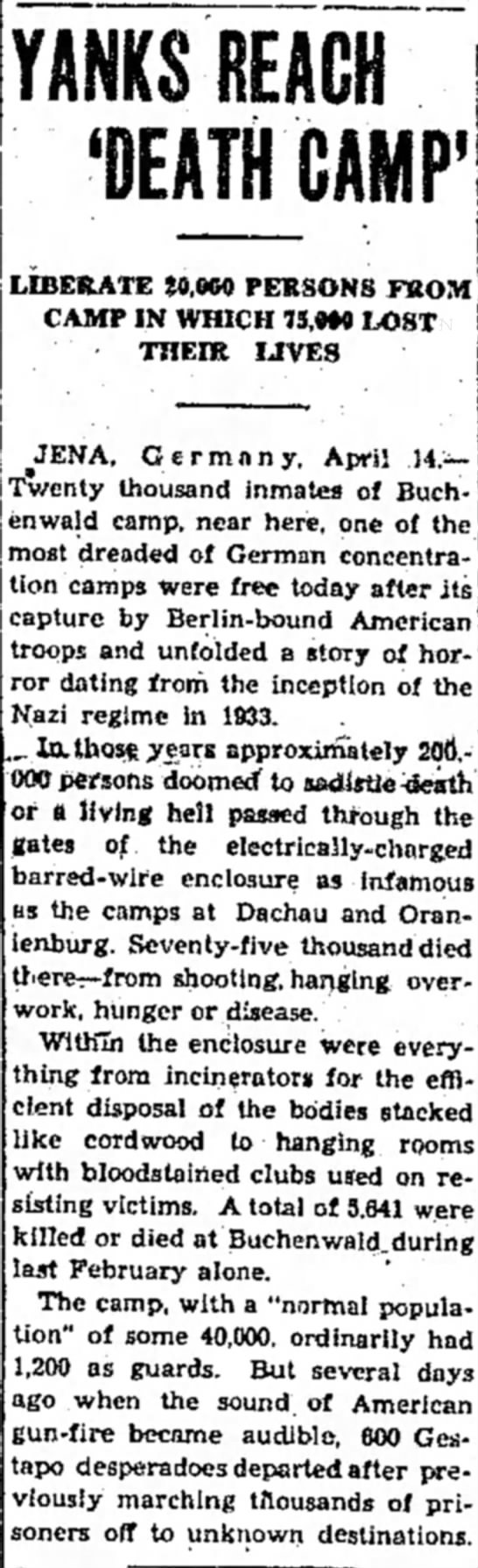 U.S. Soldiers liberate Buchenwald Concentration Camp near Weimar, Germany