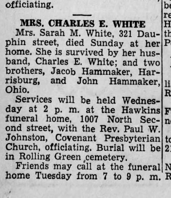 sara m hammaker white obit 1946 - officiating. MRS. CHARLES E. WHITE Mrs. Sarah...