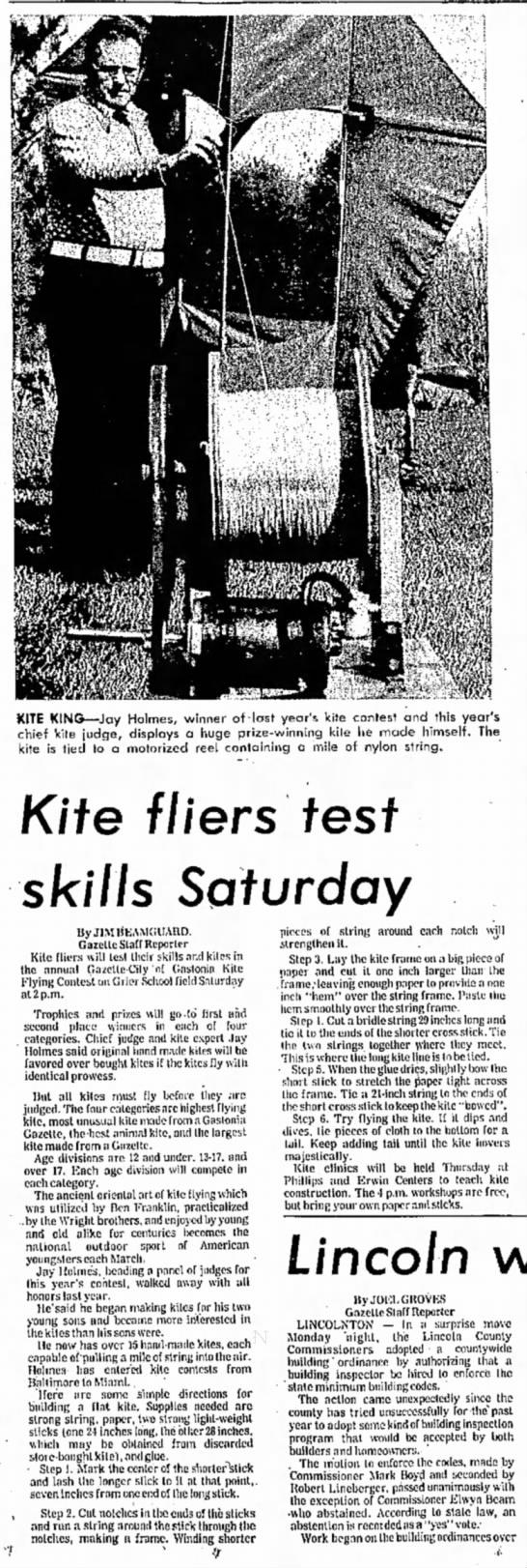 Jay Holmes kite - KITE KING—Jay Holmes, winner of-lost year's...