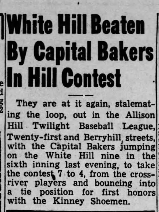 Capital Bakers in Allison Hill Twilight Baseball League.1946 - 1111 umie urn ueaien By Capital Bakers In Mill...