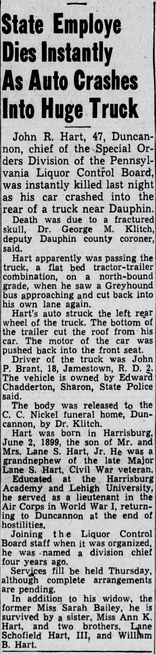 john-r-hart - State Employe Dies Instantly As Auto Crashes...