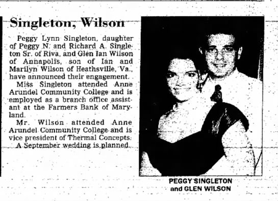 Peggy Lynn's Engagement - · Peggy Lynn Singleton, daughter of. Peggy N....