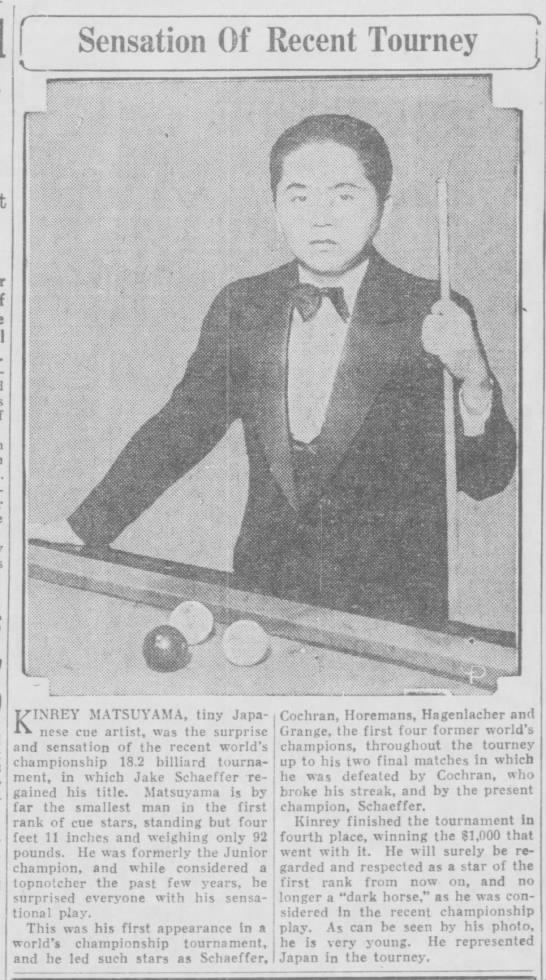 MATSUYAMA FOTO 1929, 16 FEB - Sensation Of Recent Tourney K INREY MATSUYAMA,...