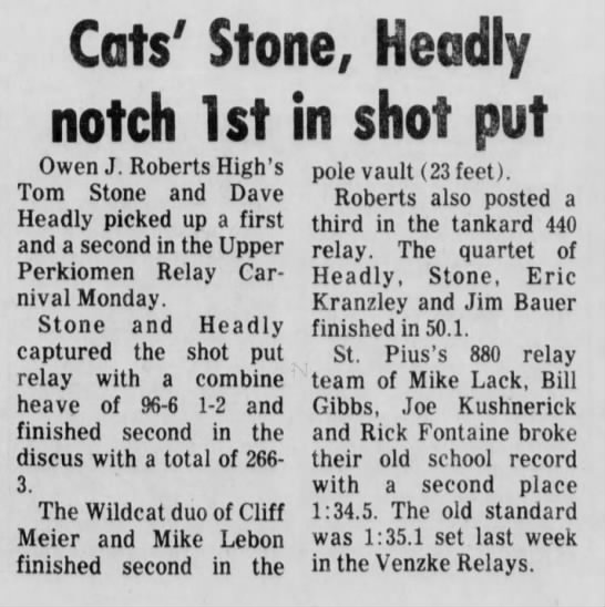 Bill Track (11 May 1976) - Cats' Stone, Headly notch 1st in shot put Owen...