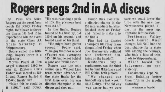Bill Track (24 May 1976) - Rogers pegs 2nd in AA discus St, Pius X's Mike...