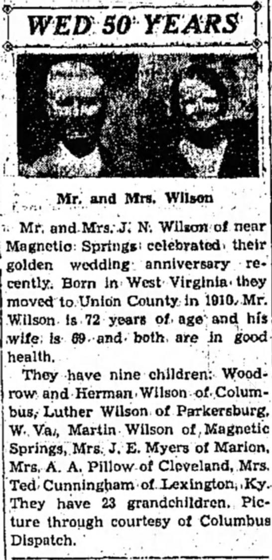 - ,7 Mr. and Mrs. Wilson u Mr; and^Mrs.-j; Ni...