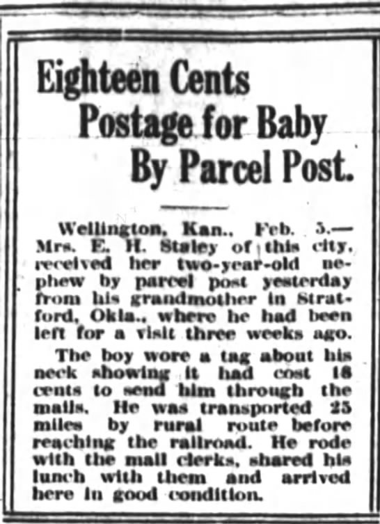 1914.02.05 Baby sent by parcel post - Eighteen Cents Postage for Baby By Parcel Post...