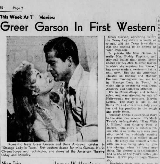 "She wants to be known as 'Ma' Fogelson. Short review here of ""Strange Lady in Town"" - 1955. - Page 2 This Week At T Movies: Greer Garson In..."