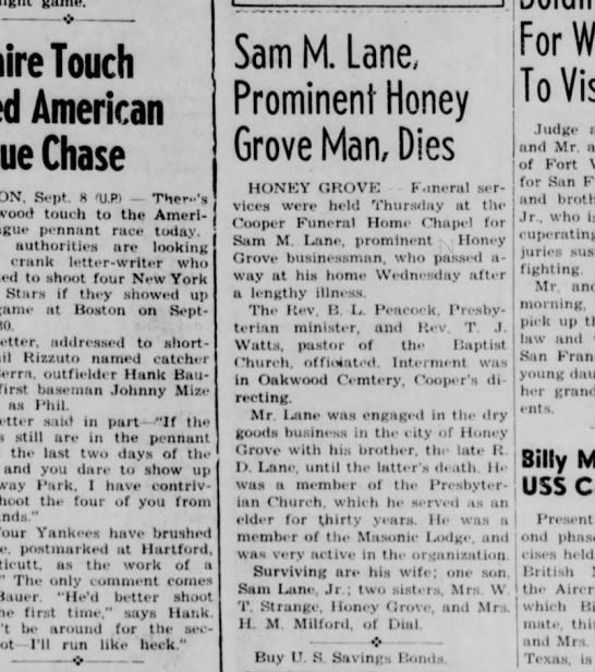 Sam M. Lane bdf Sep 8, 1950 - Touch American Chase Sept. 8 'UP) Ther-'s touch...