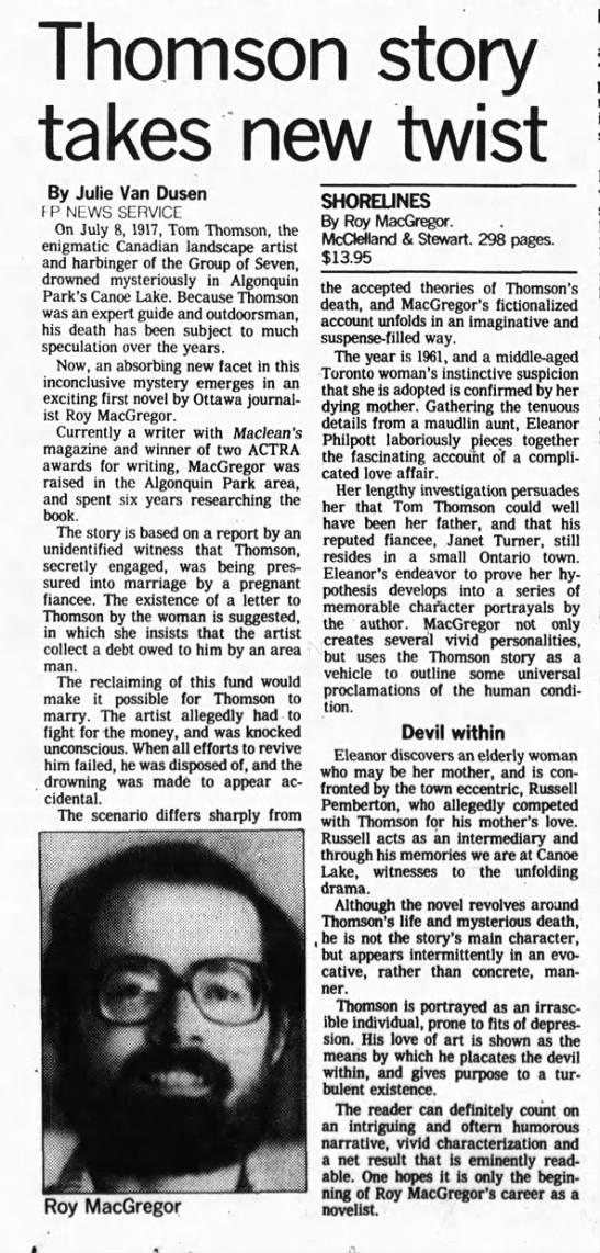 1980 May 10 - Thomson story - Thomson takes new twist By Julie Van Dusen FP...