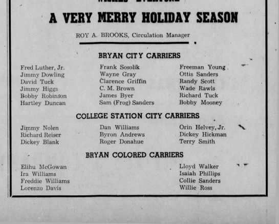 Note colored carriers in 1948! - A VERY MERRY HOLIDAY SEASON ROY A. BROOKS,...