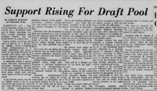 The Draft Situation 1968 21 Mar 1968 - Draft THE By GARVEN HUDGINS AP Education Writer...