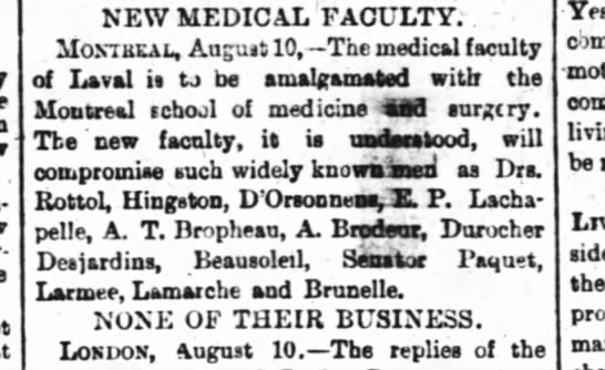 The Ottawa Journal 10 aout 1889 p1 - Star-brooke, NEW MEDICAL FACULTY. Mombeal,...