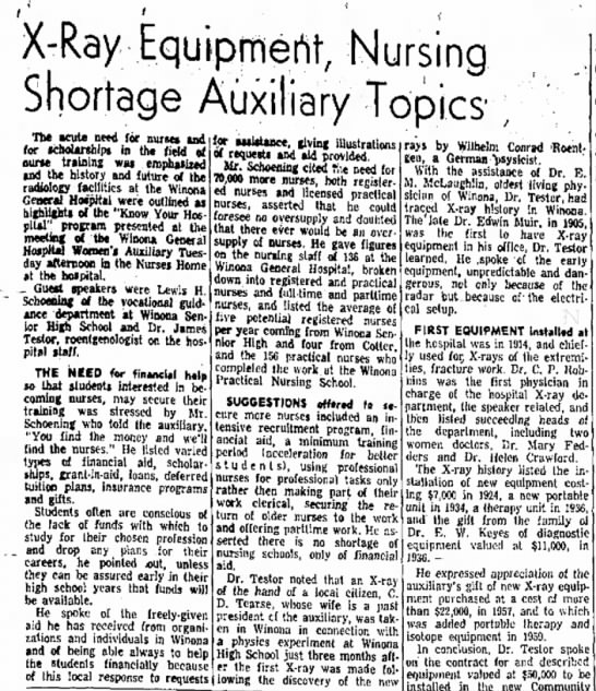 The Winona Daily News, 26 Apr 1961 - ' X-Ray Equtpmeht, Nursing Topics ; The icule...