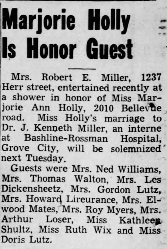 - Marjorie Holly Is Honor Guest Mrs. Robert E....