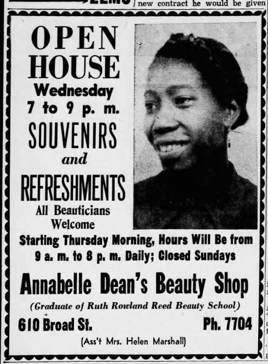 Ad Annabelle Dean's Beauty Shop - new contract he would be given OPEN HOUSE...