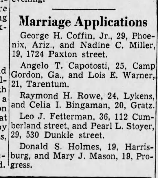 Aunt Pearl and Uncle Leo's marriage certificate - a on at Marriage Applications George H. Coffin,...