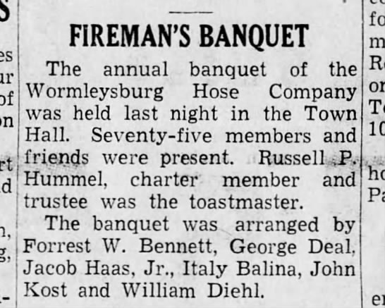 Worm 37-4-30 banquet - of FIREMAN'S BANQUET The annual banquet of the...
