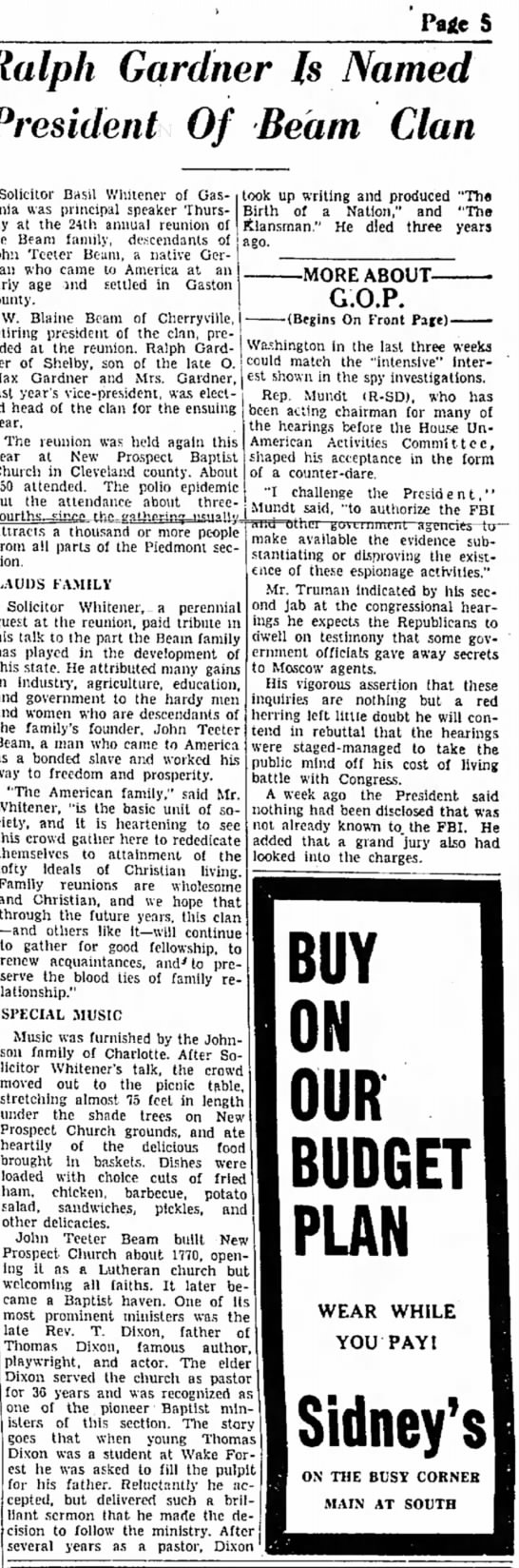 Beam Clan ReunionGalstonia Gazette, N.C. 8-13-1948, p. 5  - Paie S Gardner Is Named Of Beam Clan Solicitor...