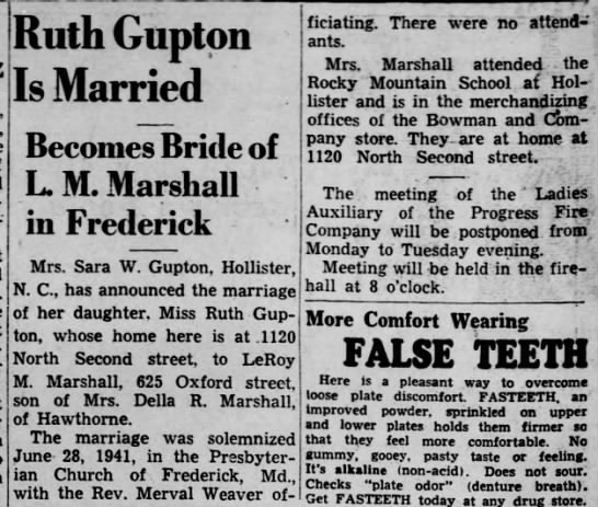 RuthGupton_marriage_30Aug1941 - Ruth Guptpn Is Married Becomes Bride of L. M....
