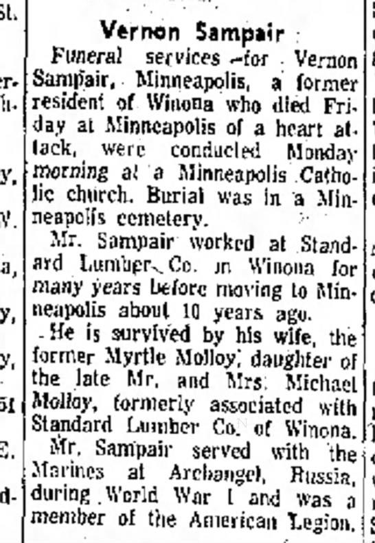 - St St baby W. Vernon Sampair : Funeral services...