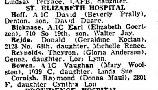 Michelle Renee Rejda born May 1961 from Lincoln Evening Journal - 1 Jul 1961 - t h o w i n g h e a Lmdsa.i Terrace. FAFB....