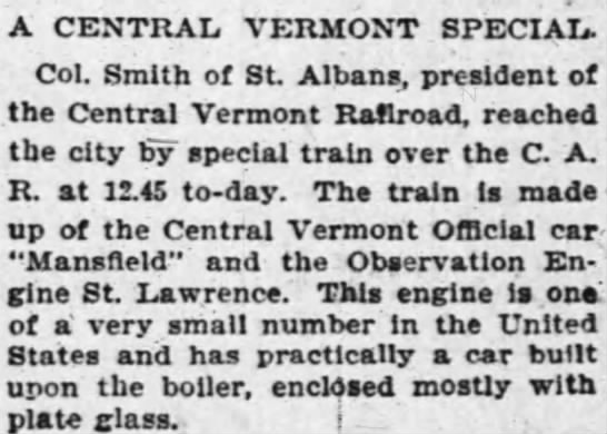 - A CENTRAL VERMONT SPECIAL. Col. Smith of St...