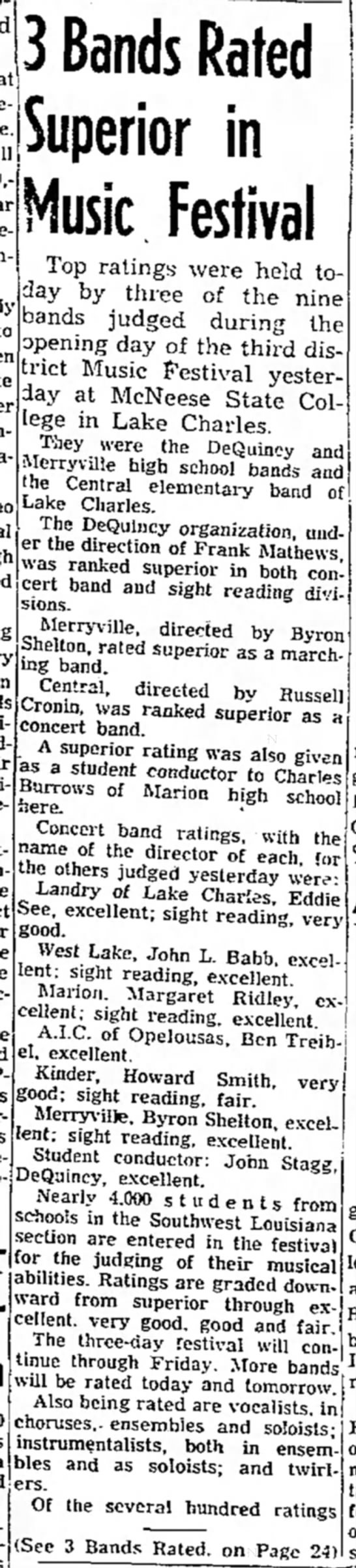 Merryville Band - 3 Bands Rated Superior in Music Festival Top...