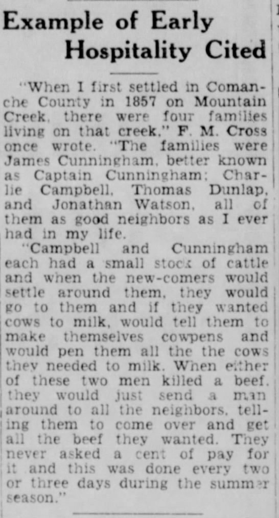 """Jonathan Watson one of 4 families in Mt Creek, Comanche Co., Tx 1857 - Example of Early Hospitality Cited """"When I..."""
