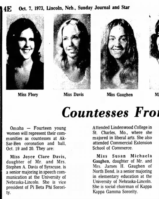 Susan Michaela Gaughen 1973 - 4E Oct. 7, 1973, Lincoln, Neb., Sunday Journal...